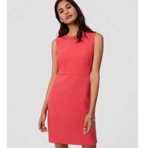 Loft Plus Coral Sleeveless Dress w Cutout Neckline